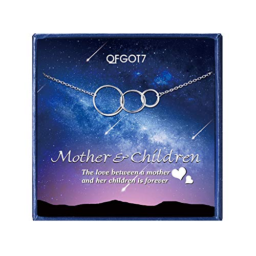 OFGOT7 Mother Children Necklace - Sterling Silver 3 Interlocking Infinity Circles Necklaces for Women,Mothers Day Birthday Gifts from Daughter or Son