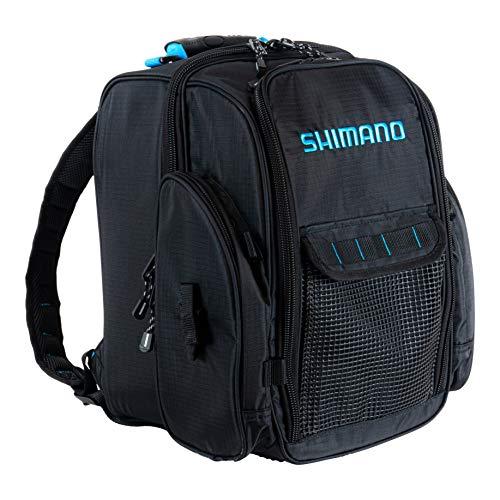 SHIMANO Blackmoon Backpacks Fishing Gear, Black/Blue, LG, Top Load