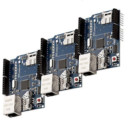 AZDelivery 3 x Ethernet Shield W5100 mit MicroSD-Karten Slot kompatibel mit Arduino inklusive E-Book!