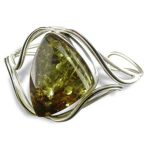 Armreif Sterling-Silber 925 grüner Bernstein mit Wellenmuster