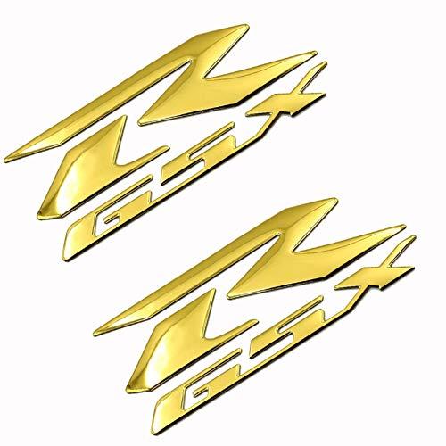 Interesante Etiqueta engomada del Logotipo de la Motocicleta 1pair Motorcycle Motorcross Emblem Fender Tank Logo Decal Sticker para GSXR 600 750 1000 K1 / 2/3/4/5/6/7/8/9 Vintage (Color : Gold)
