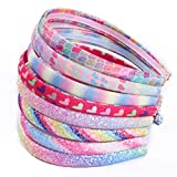 Rainbow Headbands 8 Pcs Sweet Hairband Children Head Bands For Girls Sequin Printed