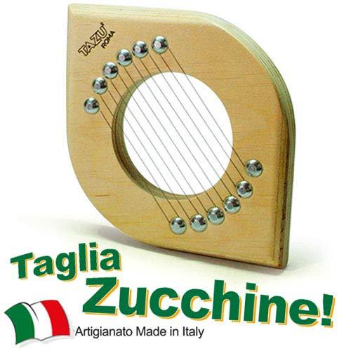 TAZU\' IL TAGLIA ZUCCHINE, Artigianale, Made in Italy Slicer, Utensile Manuale da Cucina Tagliazucchine, Mandolina Affettaverdure Taglio Fette. Multistrato di Betulla, Alluminio e Acciaio Inossidabile.