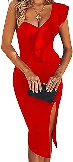 UONBOX Women's One Shoulder Sleeveless Knee Length Side Split Fashion Bandage Dress