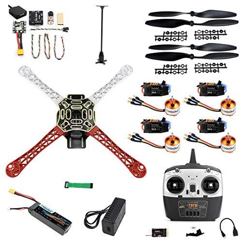 QWinOut F450 Kit de dron de 4 ejes para bricolaje Mini PIX GPS de 450 mm, desmontaje de marco de aire, RC cuadricóptero UFO Kit (juego completo)