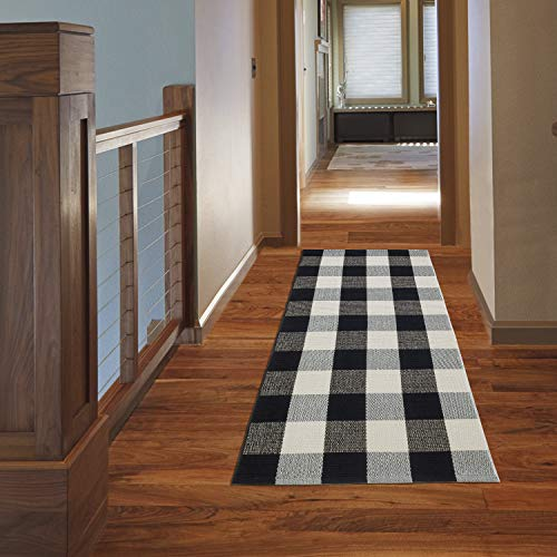 NANTA Cotton Buffalo Plaid Check Rug, Checkered Washable Runner