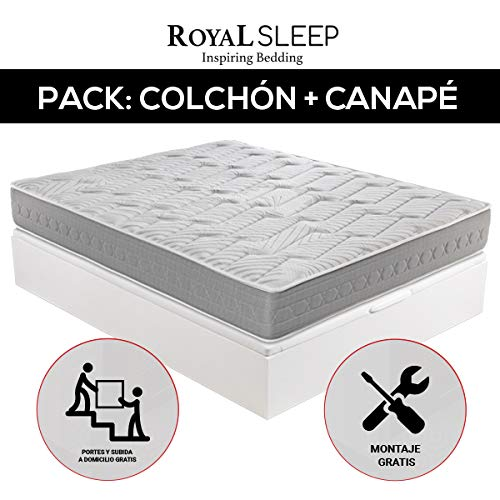ROYAL SLEEP - Pack Descanso colchón viscoelástico Ceramic Plus 135x190 y canapé abatible Gran Capacidad Blanco Madera