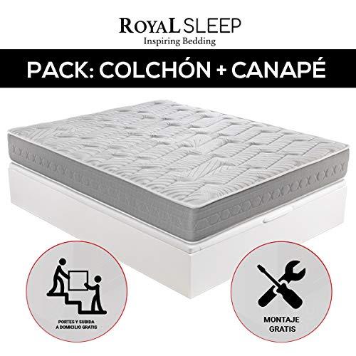 ROYAL SLEEP - Pack Descanso colchón viscoelástico Ceramic Plus 135x190 y canapé abatible Gran Capacidad Blanco Madera