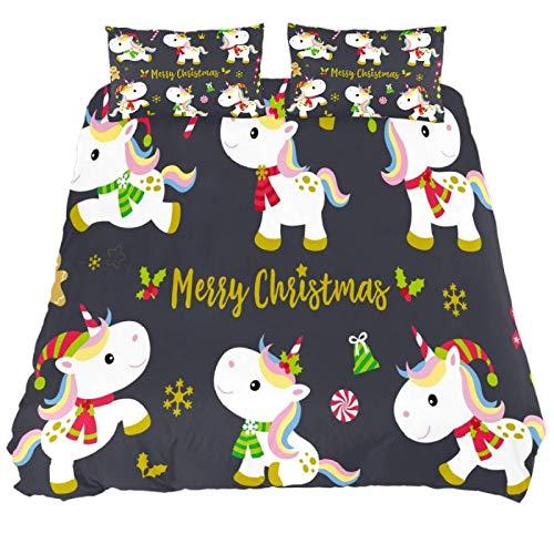 267 JlOn Microfiber Kid Bedding Set Merry Christmas Unicorn Pattern 3 Pieces JlOn Microfiber Duvet Cover Sets Boys and Girls King