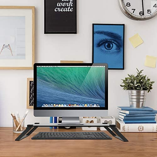 Macally Glass Computer Monitor Stand Riser Desk Monitor Riser for Laptop with Shelf Storage product image