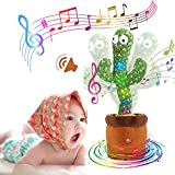 MIAODAM Volume Adjustable Dancing Cactus, Colorful Glowing Talking Cactus Toy, Repeating What You Say Cactus Toys Singing 120 Songs Cactus Plush Eletronic Baby Toys Funny Creative Kids Toy