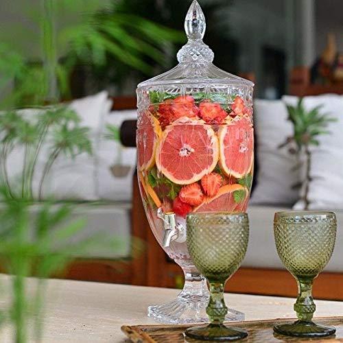 Klarglas Saftspender mit Hahn und Deckel 5L | Glas Wein Dosen Getränkespender Saft Bier Kaffee Getränk Familie Bar Party | Wasserspender Getränkespender | 20x15x51 cm