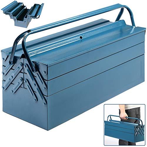 Deuba Werkzeugkasten leer groß Stahl 5-teilig Werkzeugkoffer Werkzeugbox Werkzeugkiste Werkzeug Montage Koffer blau 530x200x200mm