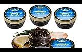 (COMBO OF FOUR) OLMA Black Caviar Hackleback Sturgeon 2 oz (56g) Glass Jar
