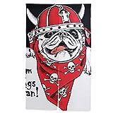 ELIENONO Cortina Japonesa de Puerta,Retrato Perro Pug Casco Vikingo Rojo,Tapiz Colgante para Puerta de partición de Sala de Montaje,56.3