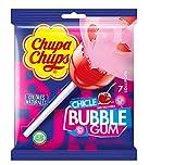 Chupa Chups Bubble Gum, Caramelo con Palo con Chicle de Sabor a Cereza, 12 Bolsas X 7 unidades de 18 gr.(Total 1512 gr.)