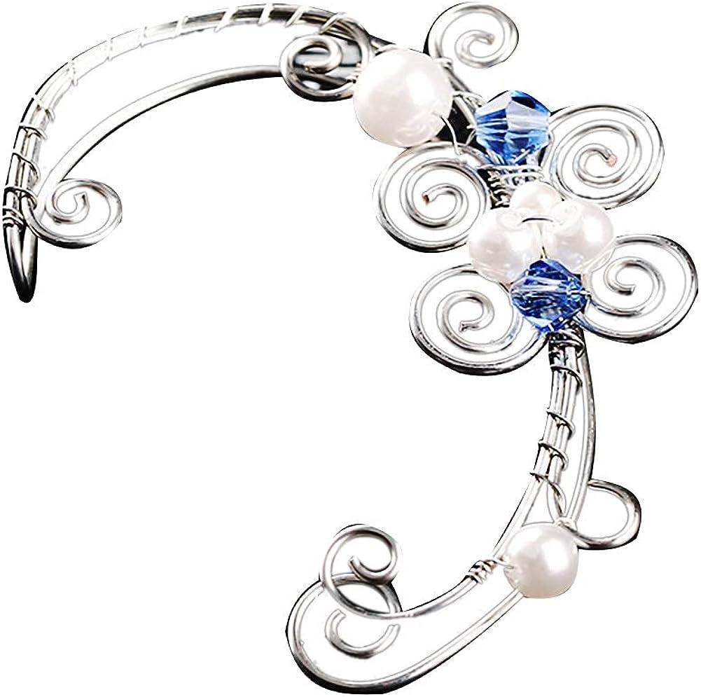 Fashion Women's Ear Clip,1Pc Hollow Flower Leaf Elf Faux Pearl Ear Cuff Clip On Earring Party Jewelry - 4# Left Ear#