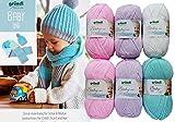 6X 50 Gramm Gründl Baby Uni/Color Wolle SB Pack inkl. Strick-Anleitung für Kindermütze und Schal sowie 1 Bügelflicken ohne Nadeln (Rosa Mix)