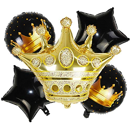 YUANCHENG 6pcs/Set Black Gold Number Crown Foil Balloons Star Crown Helium Balloon Kids Birthday Party Baby Shower Decoration,5pcs