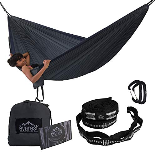 Camping Hammock Everest Double Outdoor Hammocks with Carabiners Tree Saver Straps Parachute product image