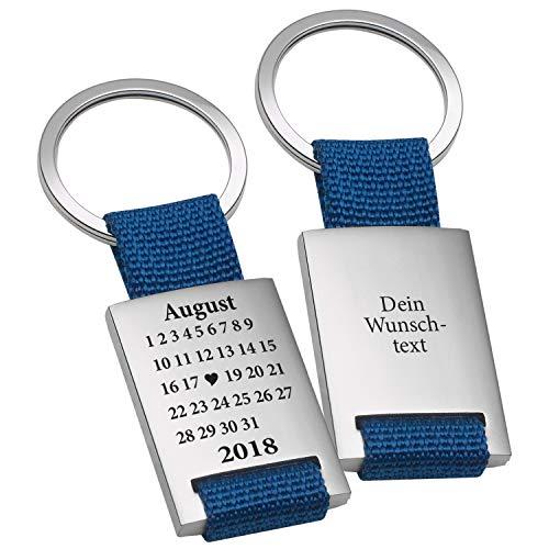 Geschenke 24 Schlüsselanhänger Schönster Tag in Blau mit Wunschgravur - gravierter Schlüssel Anhänger im Kalender Design - mit Wunschtag, Monat und Jahr personalisiert