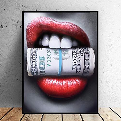 WIOIW Sexy Labios Rojos Boca mordida dólares Billete Dinero lápiz Labial Maquillaje Moderno Lienzo Pintura Abstracta Pared Arte Cartel Sala de Estar Dormitorio salón de Belleza decoración del hogar