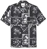 Amazon Brand - 28 Palms Men's Standard-Fit Vintage Washed 100% Rayon Tropical Hawaiian Shirt, Black/White Tile, Large