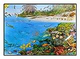 N / A James Hamilton 1000 T - Puzzle (60 x 43 cm), diseño de laguna en la playa, tortuga, pez, tiburón, serpiente, pájaro, delfín, coral, lago, lagoon, 1054