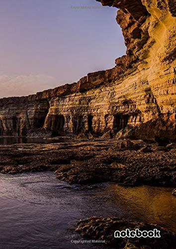 notebook: a4 cute lined journal | cyprus coast cliff cavo greko national park sunset
