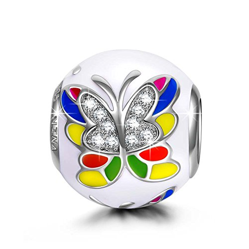 NINAQUEEN Charm fit Pandora Charms Butterfly Women's Jewellery Best Gifts with Jewellery Box 925 Sterling Silver Antibacterial Properties