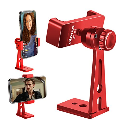 ULANZI ST-04 Aluminium Telefon Stativhalterung Adapter/Vertikale Video Halterung Handy Clip 360 Grad Smartphone Video Stativklemme für iPhone 8 Plus Samsung Android Instagram IGTV Livestreaming (Rot)