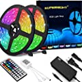 SUPERNIGHT Led Light Strip Waterproof IP65, SMD 5050 32.8 Ft (10M) 300leds RGB Flexible Rope Lights 30leds/m with 44 Key Remote Controller and 12V Power Adapter for Kitchen Cabinet, Bedroom