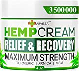 Hemp Cream - 3,500,000 - Relieve Muscle, Joint, Foot & Back with Hemp + Turmeric + Arnica | Natural Hemp Oil Extract Gel - Made in USA - 4oz