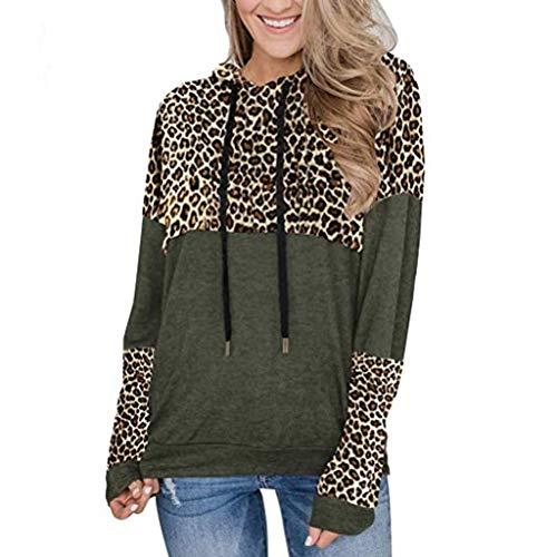 CHMORA - Camiseta de manga larga para mujer, diseño de leopardo, costuras sueltas, para mujer