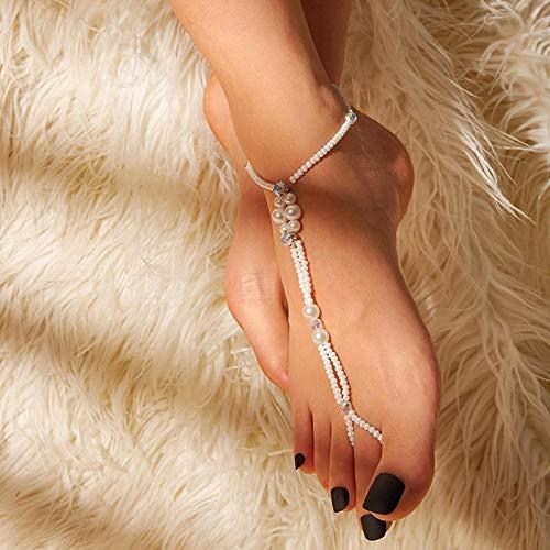 WWWL Tobillera de Mujer Joyería de Ropa de Pulsera de Tobillera de Cadena de Perlas de Dedo del pie para Mujeres Sandy Beach Accesorios de Cuerpo de Moda S0905