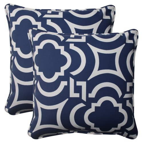 Pillow Perfect Outdoor/Indoor Carmody Navy Throw Pillows 185quot x 185quot Blue 2 Count