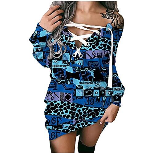 ASDVB Vestido de playa para mujer, sin tirantes, body de manga larga, sexy, vestido estampado, cadera, largo medio, vestido de ocio., Azul 1, L