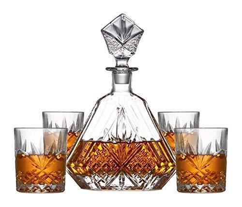 GAOTTINGSD Botellero Whiskey Jarra y Vasos, Decorado con Scotch, Bourbon, Licor, de 5 Piezas, 100% Cristal de Plomo Libre con la Caja de Regalo, sólida y Estable