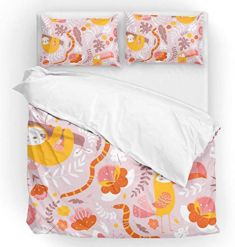 Múltiple Conjunto de tapa de edredón de ropa de cama Tamaño doble 2 pieza Set 1 edredón de la colcha y 1 funda de almohada Sham Sloth tropical Hojas de palma de animales para niños niño niña mujeres h