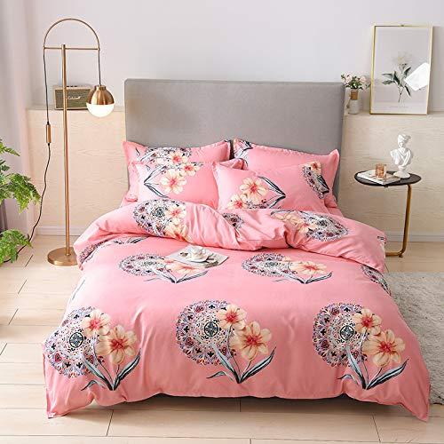 BH-JJSMGS Vierteilige Bettdecke aus Baumwollvlies, Bettbezug aus Leichter Mikrofaser, rosa 180 * 230 cm