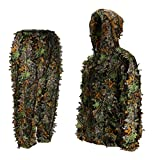 Ideashop Ghillie Suit, Lightweight Breatheable Hunting Suit for Mens, Women, Youth, 3D Leafy Camo Woodland Forest Suits with Hood, for Outdoor Jungle Hunting, Shooting, Airsoft, Wildlife Photography