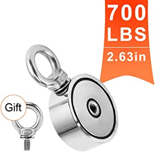 MHDMAG Double Sided Fishing Magnet, Powerful Magnet Fishing Kit with 700lbs Combined Strength Neodymium Rare Earth Magnet with Two Eyebolts for River Lake Hunting Indoor Outdoor (2.63in Dia)