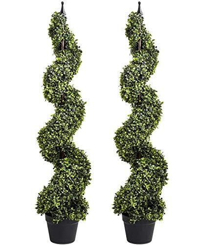 YQing 2 Stück Künstlich Zypresse Spirale Baum Deko, 120cm Topiary Tree Bäume Buchsbaum Spiral Topiary Baum im Topf Drinnen oder Draußen Verwenden