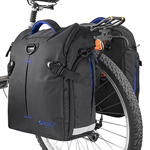 BV Fahrradgepäcktasche (Paar), Clip-On Quick Release Fahrradtasche mit abnehmbaren Schultergurten und Allwetter-Regenabdeckungen, Quick Release Hook - Blue