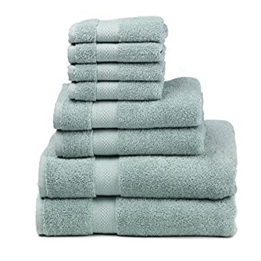 Premium 100% Cotton 8-Piece Towel Set (2 Bath Towels 30  X 52 , 2 Hand Towels 16  X 28  and 4 Washcloths 12  X 12 ) - Natural, Soft and Ultra Absorbent (Duck Egg)