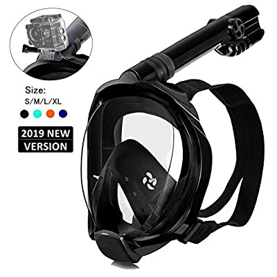ADAFAZ Snorkel Mask Full Face Snorkeling Mask, 180 Panoramic View Free Breathing, Anti-Fog Anti-Leak Dry Top Snorkel Set with Detachable Camera Mount for Adults & Kids