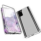 Jonwelsy Funda para Samsung Galaxy S20 Plus, Adsorción Magnética Parachoques de Metal con 360 Grados Protección Case Cover Transparente Ambos Lados Vidrio Templado Cubierta para Samsung S20+ (Plata)
