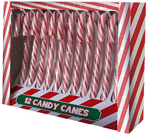 Guilty Gadgets 10 x Candy Canes - Gift Sweets for School Children and Christmas Tree Decoration Green Red and White Elves Design - Pepermint Flavour