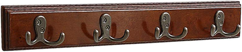LF 8-Hook Wooden Coat Rack, Hanging Entryway Wall Mounted Coat Hooks, Brown 49.5  2.6  0.8in