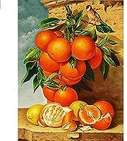 フルドリルダイヤモンド刺繡フルーツ5DDIYモザイクダイヤモンド絵画クロスステッチオレンジラインストーン家の装飾愛の贈り物-30x40cm
